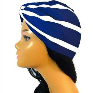 Blue + White Stripe Turban Hair Wrap - Easter Prom